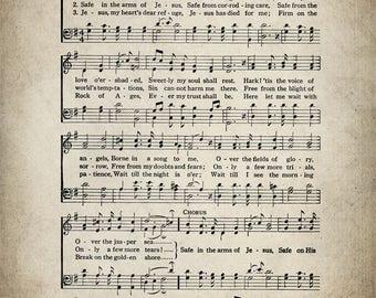 Safe In The Arms Of Jesus Hymn Print - Sheet Music Art - Hymn Art - Hymnal Sheet - Home Decor - Music Sheet - Print - #HYMN-P-037