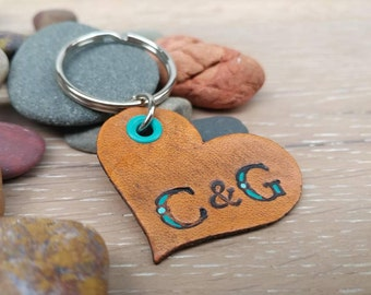 Leather Keychain, Leather Heart Keychain with Initials, Hand Painted Leather Keychain