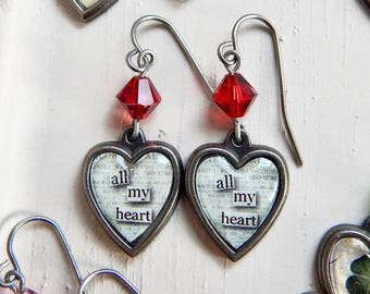 Valentine's Day heart earrings - All my heart - red crystal heart earrings