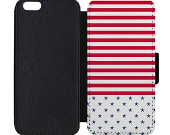 Patriotic Stars and Stripes 4th Of July Print Pattern Leather Flip Wallet Case Apple iPhone 5 5S SE 6 6S 7 7S 8 8S X Plus