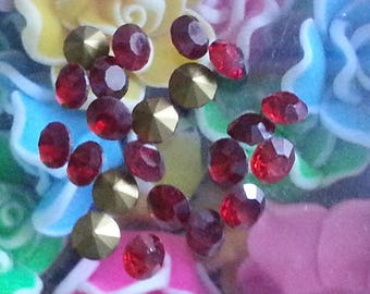 20 cabochons spike glass Rhinestones, cone, back plated, clear, ab, 5 mm in diameter, 2 mm thick