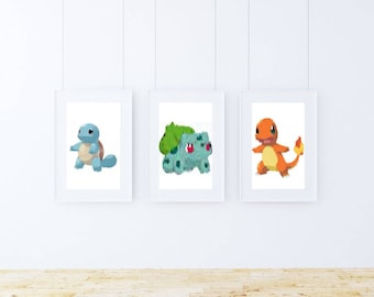 Pokemon Art Prints Starters Pack! Bulbasarur + Squirtle + Charmander reimaginated by an AI