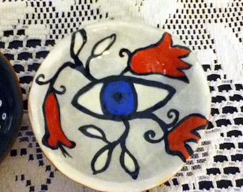 Ceramic Eye Bowl, Spoon Rest, Soap Dish, Ring Holder Dish, Ceramics, Pottery, Dream Bowl, Cathy Kiffney Ceramics
