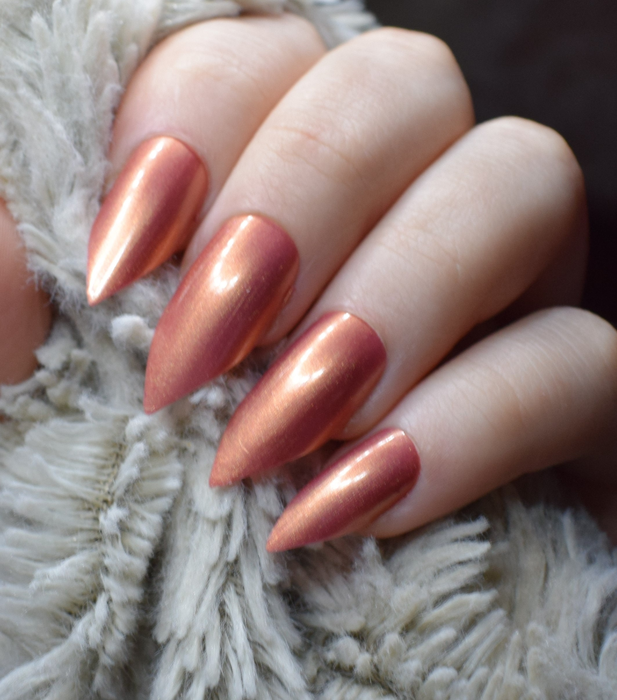 Copper Fake Nails, Long Pointy Stiletto False Nails, Hand Painted ...