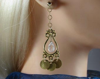Aquamarine Coin Earrings- Gold Filled, Chandelier