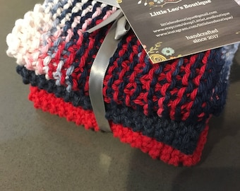 Red, White and Blue Dishcloths, Set of 3, Independence Day, 4th of July