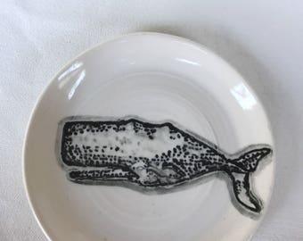 Small Handpainted Whale on Handmade Porcelain Trinket Dish
