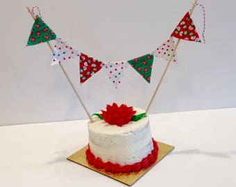 CAKE TOPPER CHRISTMAS Banner Flags Bunting--Red Green White Fabric Christmas Cake Banner--Snowmen Ornaments Holly--Holiday Party Cake Banner