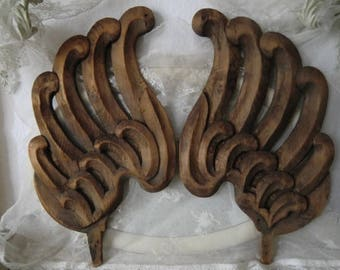 Antique Angel wings wood hand carved rustic raw French shabby
