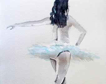 Original ballerina painting,ballerina watercolor,ballet watercolor,ballet painting,dancer watercolor,ballerina art,black and white ballerina