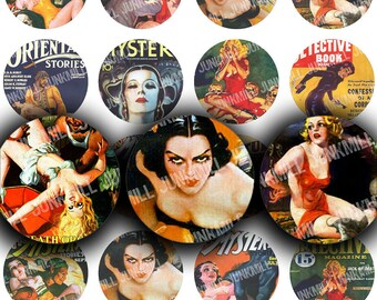 """MYSTERY NOIR - Digital Printable Collage Sheet - Retro Pulp Fiction Magazine Covers, Vintage Pin-Up Girls, 1"""" Circles, Instant Download"""