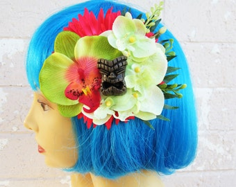 Wainani Tiki Flower Clip, Pinup Hair Flower, Beach Hair Clip, Tropical Hair Clip, Tiki Hat