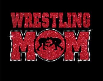 Women's Glitter and Rhinestone Wrestling Mom Shirt
