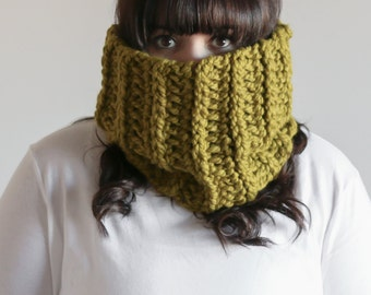 Chunky Cowl Scarf Ribbed Warmer | THE BANTRY in Lemongrass