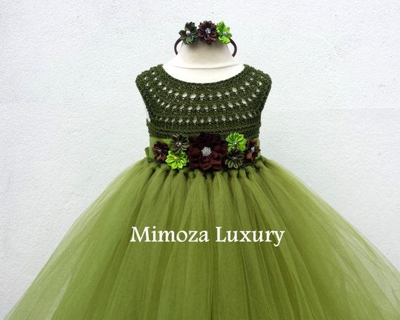 Olive Green Military Flower girl dress, khaki tutu dress, bridesmaid dress, princess dress, crochet top tulle dress, bottle yarn tutu dress