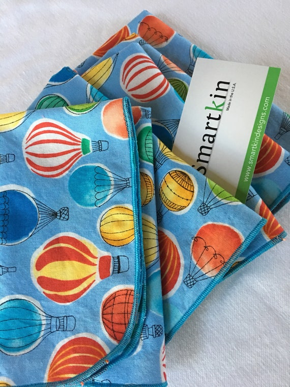 Blue Hot Air Balloons All Cotton Cloth Napkin 12x15 Lunch Size by Smartkin