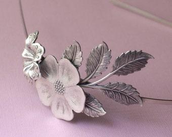 Floral headband bridal leaves elegant silver flower garden romantic vintage style wedding hair accessory hair band elegant goddess leaf