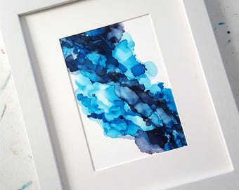 The Deep Blue 5x7 , Abstract Art, Blue Home Decor,  Alcohol Ink Art, Home Decor, Modern Decor,  Office Decor, Abstract Art, Beach Decor
