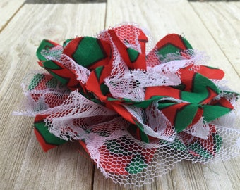 99 CENTS SALE-flower-Chiffon and Lace-Red/Green-3 3/4 inches-Set of 2 Christmas bows