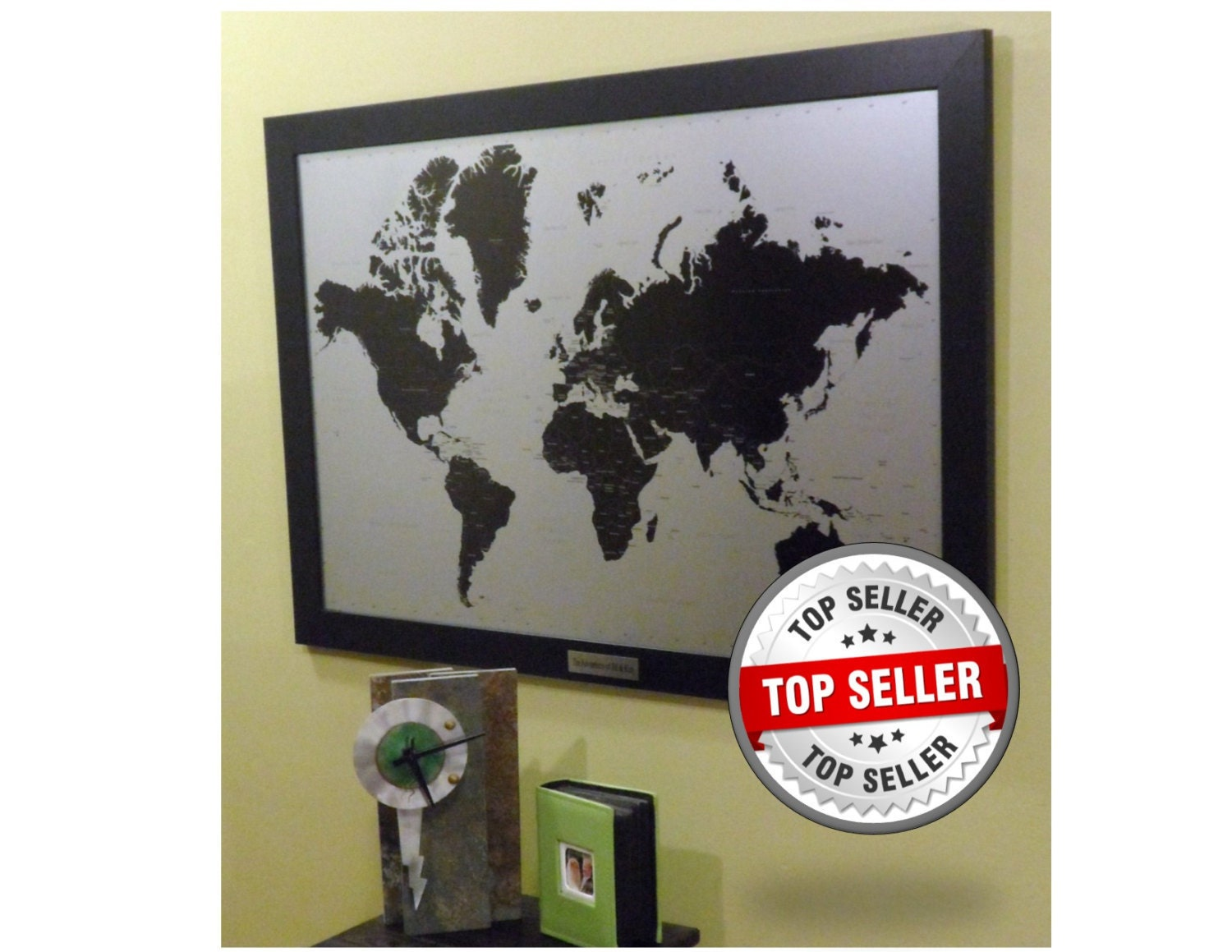 Personalized Modern Silver Push Pin World Travel Map With