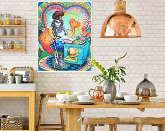 POSTER SIZED Kitchen Catrina Art Print. Day of the Dead Cook Wall Art. Skeleton Pin Up Rockabilly decor. Trippy Bones Nelson art