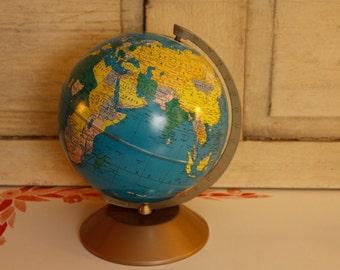 "Vintage Metal Mid-Century World Master Metal Globe, Rand McNally World Globe, 11"" Globe , Vintage Collectible Globe, Mod, Retro World Globe"