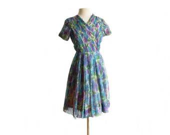 Vintage 60s floral chiffon party dress/ micro pleats/ full skirt garden party dress/ Monet Lilies pastel palette