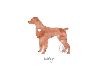 Brittany Dog Watercolor Painting Digital Art Print Silhouette Custom Wall Decor, Home, Office, Nursery, Room Decor