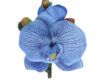 """Pack of 4 - Blue Orchid Boutonniere - 4.25"""" Tall"""