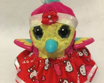 "Hello Kitty Red Heart Skirt and Headband Set For Your Hatchimal Hatchimals Perfect for Easter ""Egg"""