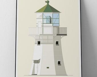 Lighthouse Illustration Pencarrow New Zealand