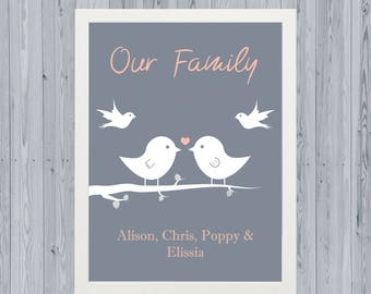 Our Family Of Angels, Bird Family Print, Angel Baby or Babies, A4 Personalised Print, Framed or Unframed