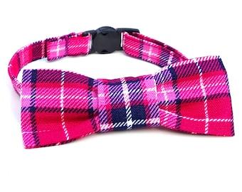 Cat Bowtie - slide on - pink plaid tartan