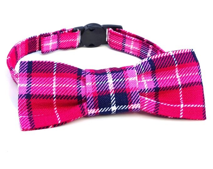 Featured listing image: Cat Bowtie - slide on - pink plaid tartan