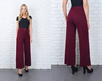 Vintage 70s Wide Leg Pants Trousers High Waist Wool Mod Small 11251