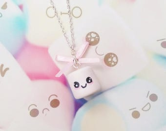 necklace kawaii marshmallow polymer clay