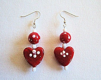 Red Heart Earrings White Polka Dots Valentines Day Gifts for Girlfriend Handmade Beaded Earrings Gifts for Her Gifts Under 10