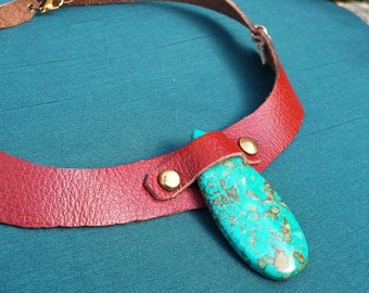 The Clan - leather and turquoise magnesite necklace