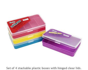 "Mini Storage Boxes, 4pc set. 5.5x3.5"" Boxes have different compartment sizes. Plastic with hinged clear plastic lids. Color set is as shown."