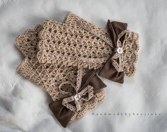 Handmade fingerless gloves. Beige mittens, Wrist warmers, Arm warmers, Winter wool mittens, Warm crochet gloves, Boho gloves