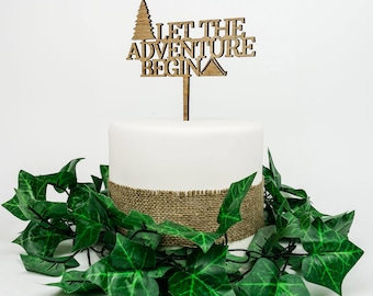 Wooden Cake Topper - Let the Adventure Begin. FREE Shipping AU