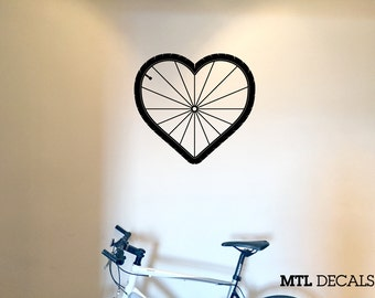 "Bike Love Wall Decal Cycling Sticker Wall Art (W 21"" x H 19.25"") Gift Ideas"