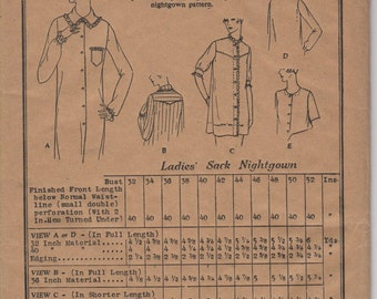 Bust 46-FACTORY FOLDED 1920's Misses' Nightgown Butterick Deltor 3200