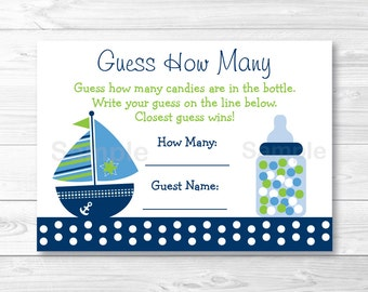 Sailboat Guess How Many Game / Sailboat Baby Shower / Candy Guessing Game / INSTANT DOWNLOAD A267
