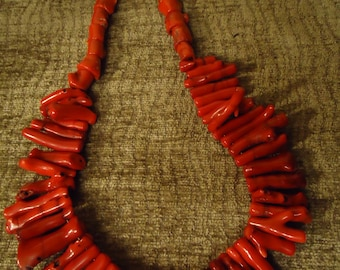 Handcrafted Bohemian Drop Coral Necklace