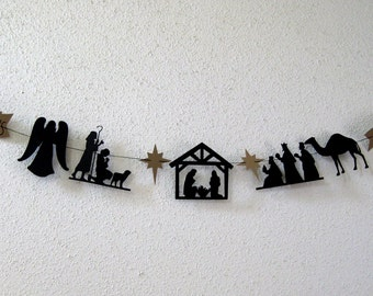 Nativity Banner ~ Christmas Garland ~ Holiday Pennant ~ O Come Let Us Adore Him Christmas Decor ~ Inspirational Decoration ~ Paper Cut Decor