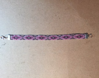 Shades of Purple, Loom Beaded Friendship Bracelet, Native American Pattern, Glass Seed Beads