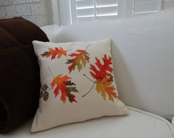 Pillow Sham Falling Leaves Cottage Decor Fall Decor Hand painted