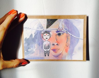 Fine art postcards INDIAN DREAMS DINA6 recycled paper with white/Brown kraft paper envelope