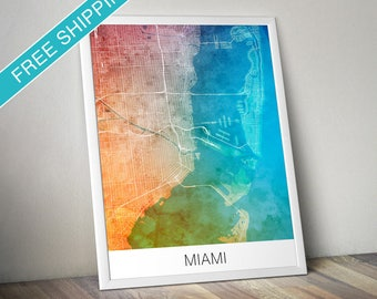 Miami Map Print - Map Art Poster with Watercolor Background